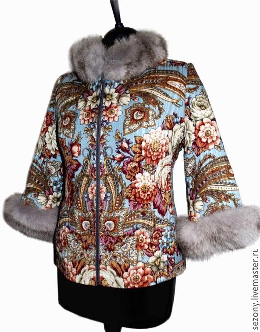 Верхняя одежда ручной работы. Ярмарка Мастеров - ручная работа. Купить Куртка из павловопосадского платка. Handmade. Павловопосадский платок