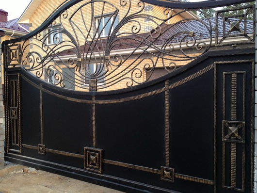 Экстерьер и дача ручной работы. Ярмарка Мастеров - ручная работа. Купить Кованые ворота. Handmade. Черный