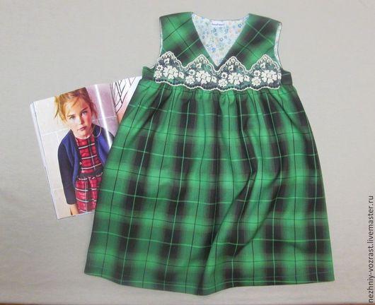 """Одежда для девочек, ручной работы. Ярмарка Мастеров - ручная работа. Купить Сарафан """" Изумрудно-зелёный"""". Handmade. Зеленый, девочкам"""
