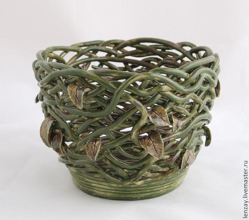 Planters `Marsh nymph`. Braided ceramic and ceramic flowers Elena Zaichenko