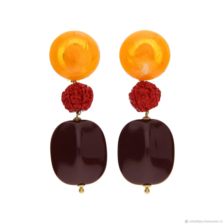 Клипсы Очень крупные оранжевые красные винные вишневые киноварь К28, Браслет из бусин, Москва,  Фото №1