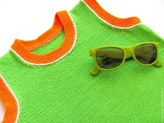 Одежда унисекс ручной работы. Ярмарка Мастеров - ручная работа. Купить Детская шерстяная безрукавка салатовый оранжевый. Handmade. Салатовый