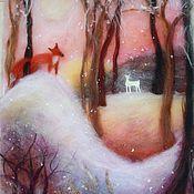 """Для дома и интерьера ручной работы. Ярмарка Мастеров - ручная работа """"Зимний сон""""  картина из шерсти. Handmade."""
