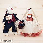 Свадебный салон ручной работы. Ярмарка Мастеров - ручная работа Свадебные зайки в Сине-бордовых цветах. Handmade.