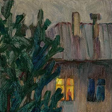 Картины и панно ручной работы. Ярмарка Мастеров - ручная работа Картины: «Хорошо дома!» Картина маслом пейзаж кот дом. Handmade.