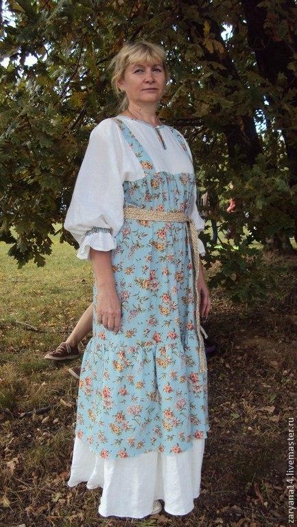 Одежда ручной работы. Ярмарка Мастеров - ручная работа. Купить платье-сарафан голубой. Handmade. Сарафан, на свадьбу, платье