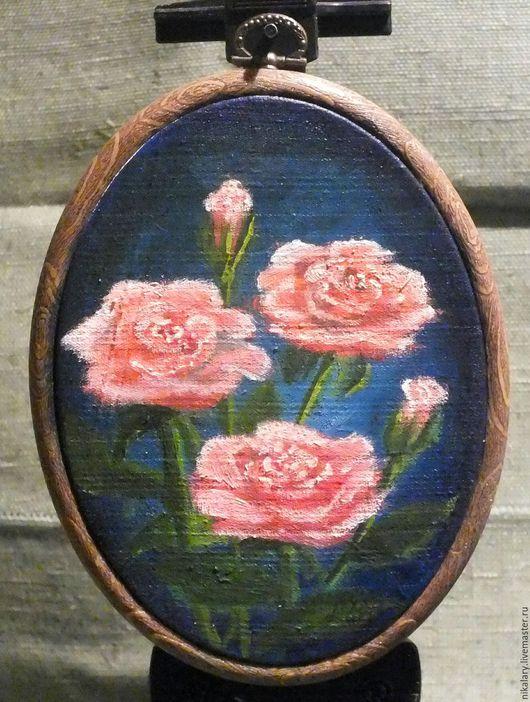 """Открытки на все случаи жизни ручной работы. Ярмарка Мастеров - ручная работа. Купить Открытка маслом """"Розы розовые"""". Handmade. Комбинированный"""