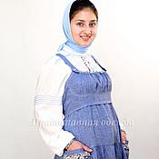 Одежда ручной работы. Ярмарка Мастеров - ручная работа Льняной сарафан - двойка, с длинной рубашкой из штапеля. Handmade.