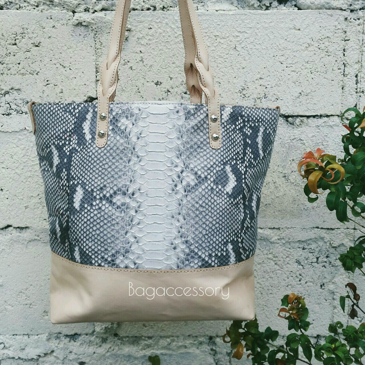 Bag of genuine leather and Python skin, Classic Bag, Moscow,  Фото №1