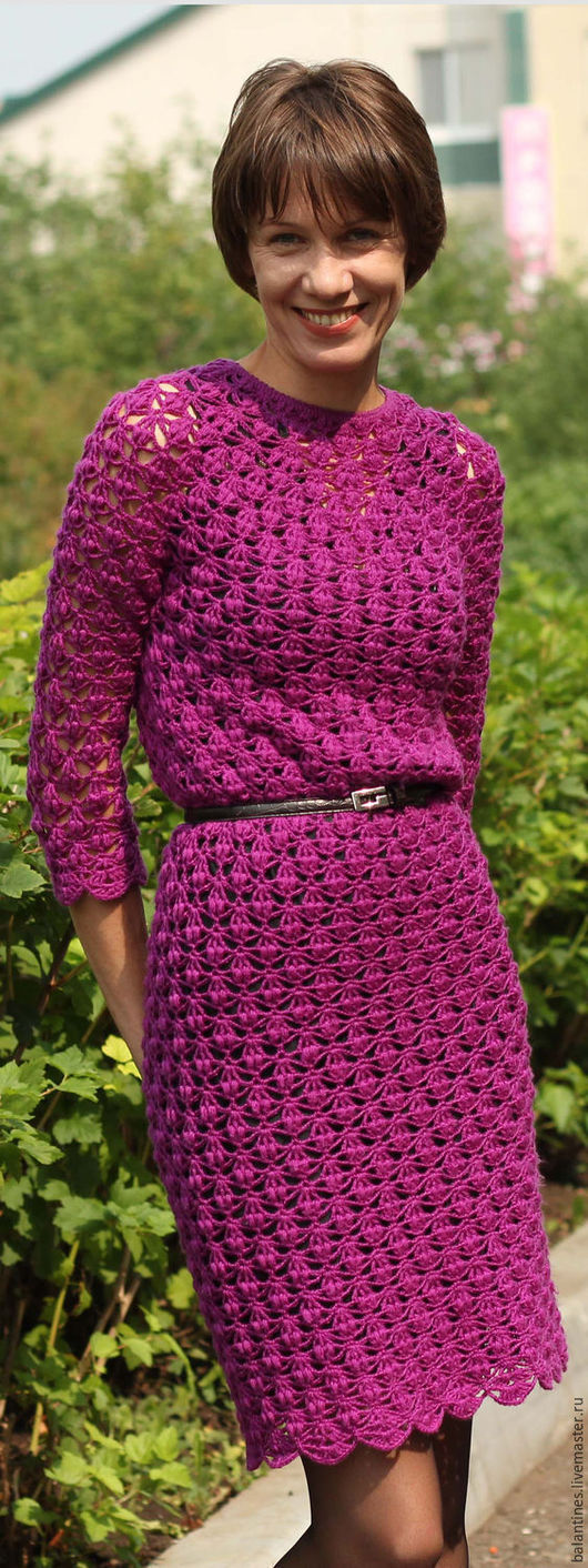 Платья ручной работы. Ярмарка Мастеров - ручная работа. Купить Платье вязаное крючком Ирис двухстороннее, полушерсть. Handmade.