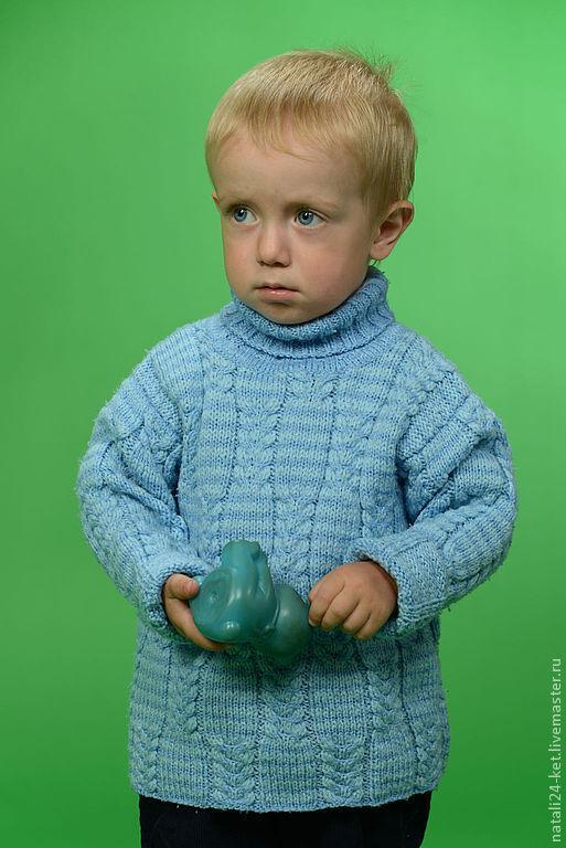 Одежда для мальчиков, ручной работы. Ярмарка Мастеров - ручная работа. Купить водолазка. Handmade. Голубой, вязанная одежда, мужской, акрил