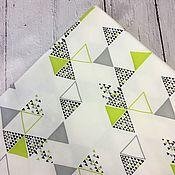 """Ткани ручной работы. Ярмарка Мастеров - ручная работа Интерлок """"Треугольники"""". Handmade."""