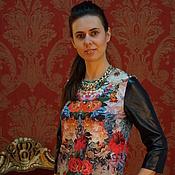 Одежда ручной работы. Ярмарка Мастеров - ручная работа платье  с кожанными рукавами. Handmade.