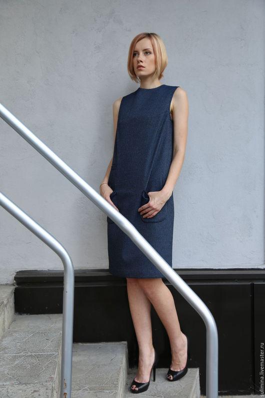 Платья ручной работы. Ярмарка Мастеров - ручная работа. Купить Платье-сарафан АЛЛА. Handmade. Тёмно-синий, дизайнерская одежда
