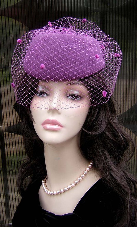Fedoras & formal hats handmade. Livemaster - handmade. Buy Hat with veil 'Purple dreams'.Hat from felt