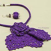 Украшения ручной работы. Ярмарка Мастеров - ручная работа Жабо и серьги фиолет. Handmade.
