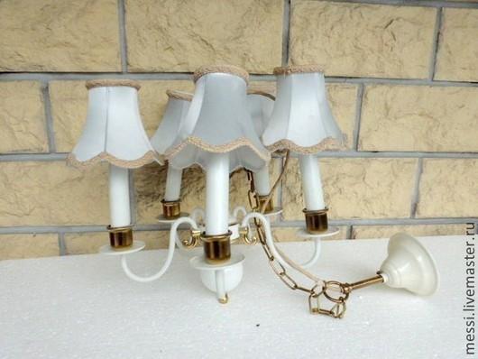 Винтажные предметы интерьера. Ярмарка Мастеров - ручная работа. Купить Потолочная лампа, светильник, люстра, 50-е годы, шебби. Handmade.