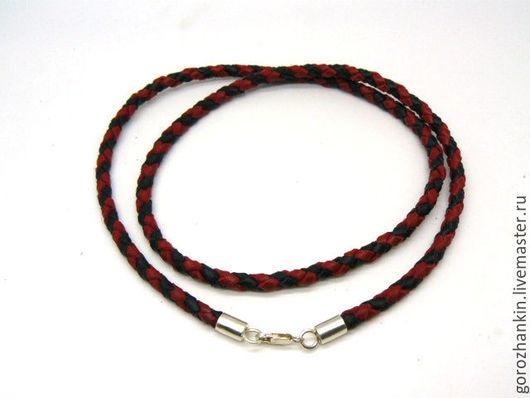 Чокер кожаный серебро 5 мм `Черное и красное`. Ручная работа купить чокер шнур гайтан веревка на шею под крестик, кулон, амулет, оберег, амулет, талисман, подвеску, иконку парню, мужчине подарок