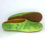 Тапочки ручной работы. Ярмарка Мастеров - ручная работа Тапочки женские валяные зелёные. Handmade.