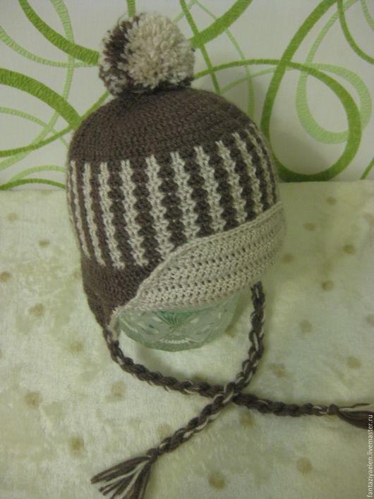 Шапки и шарфы ручной работы. Ярмарка Мастеров - ручная работа. Купить Теплая шапка для мальчика. Handmade. Коричневый, зимняя шапка