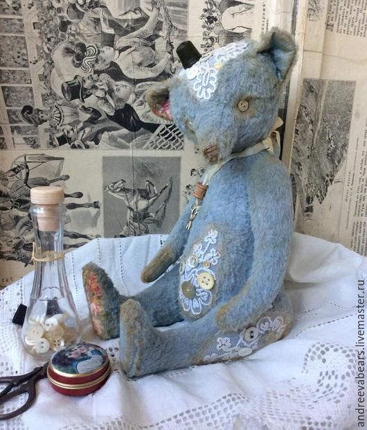 """Мишки Тедди ручной работы. Ярмарка Мастеров - ручная работа. Купить """"Blue lace"""" мишка с перламутровыми пуговицами. Handmade. Голубой"""