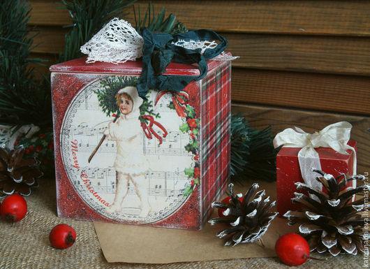 """Шкатулки ручной работы. Ярмарка Мастеров - ручная работа. Купить -10%Коробочка """"Рождественская""""... Handmade. Ярко-красный, коробочка, подарок на новый год"""