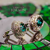 Украшения handmade. Livemaster - original item Cufflinks: OSCAR. color: emerald. Men`s jewelry. Cufflinks for men. Handmade.
