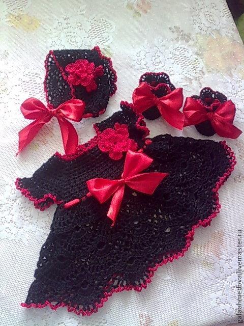 Черный и алый, комплект для малышки, комплект для девочки, одежда для новорожденной, летний наряд, нарядное платье, ручной работы, платье для девочки, черное платье, для малышки, ажурное платье, для д