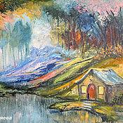 """Картины и панно ручной работы. Ярмарка Мастеров - ручная работа """"Маленький Домик в Большом Лесу"""" - пейзаж маслом на холсте. Handmade."""