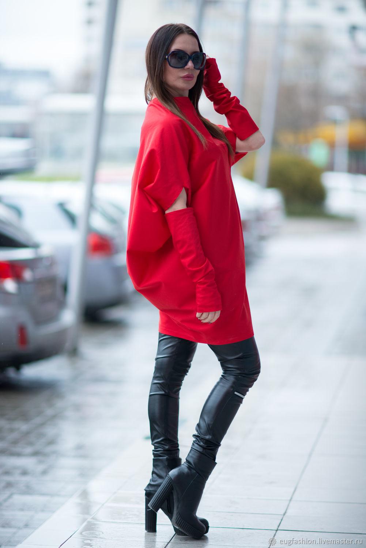 Tunic, Long tunic, Tunic long sleeve, cotton Tunic, Tunic for the winter Tunic for autumn, Tunic dress, Red tunic