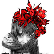 """Украшения ручной работы. Ярмарка Мастеров - ручная работа Ободок """" бабочки"""" шелк. Handmade."""