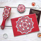 Канцелярские товары handmade. Livemaster - original item Set passport cover genuine leather mirror comb coral. Handmade.
