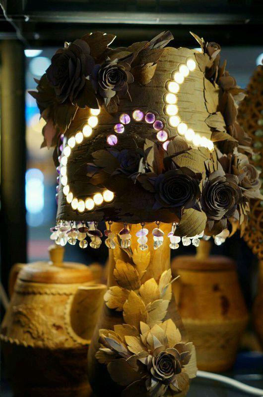 Освещение ручной работы. Ярмарка Мастеров - ручная работа. Купить Лампа ''Нежность''. Handmade. Береста, аметист, лампа ручной работы