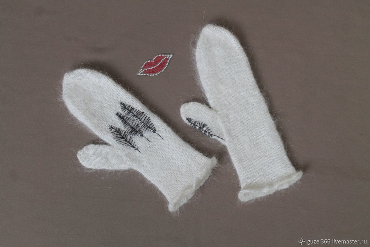 Mittens púchov white with embroidery, Mittens, Orenburg,  Фото №1