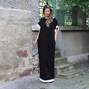 Одежда ручной работы. Ярмарка Мастеров - ручная работа Черное макси элегантное платье, кафтан, абайя весна лето. Handmade.
