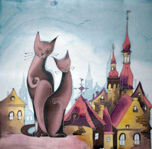 Животные ручной работы. Ярмарка Мастеров - ручная работа. Купить Панно Кошки на крыше. Handmade. Панно, подушка, Кошки, крыши