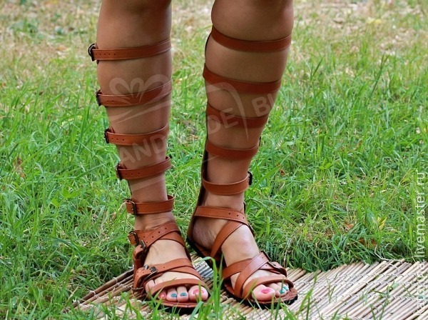roman sandals gladiator genuine leather red. any sizes and colors on request!