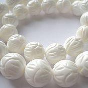 Материалы для творчества manualidades. Livemaster - hecho a mano El coral blanco tallado de bolas de bolas de 12mm, 14mm, 16mm. Handmade.