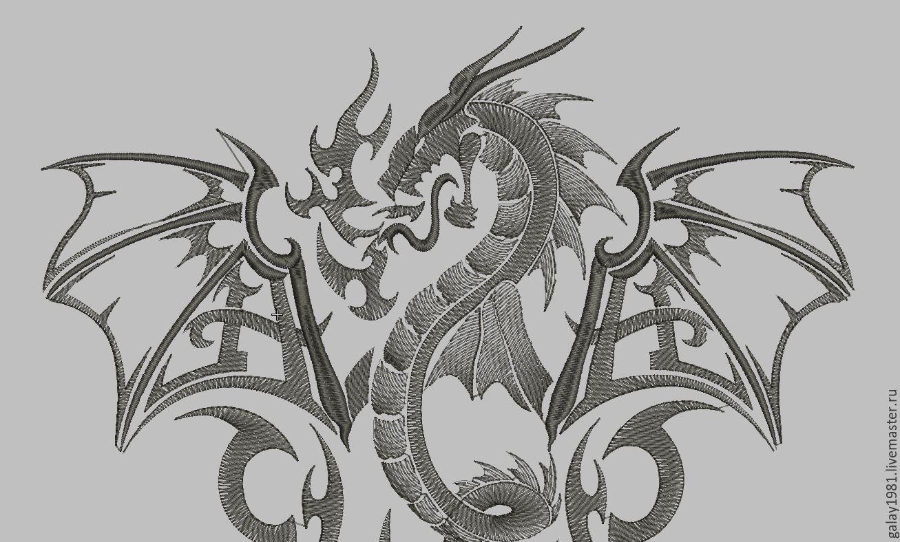 Дракон вышивка на черном