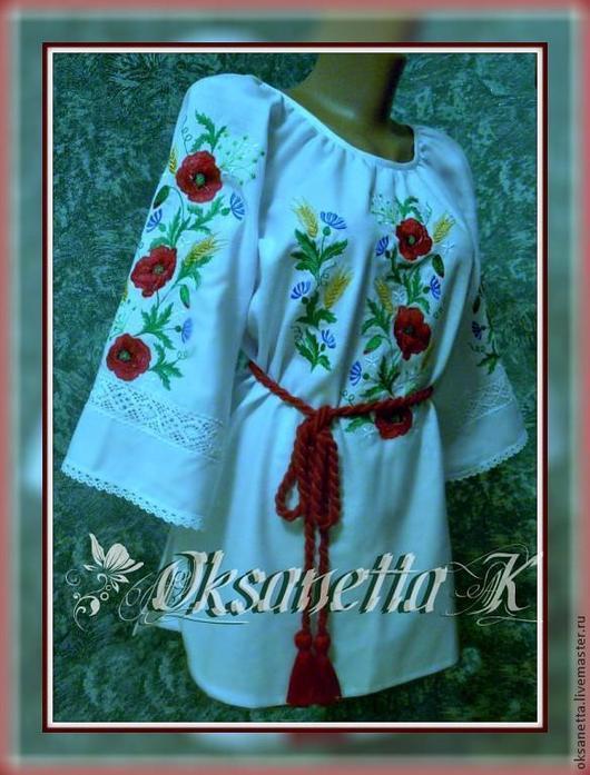 """Блузки ручной работы. Ярмарка Мастеров - ручная работа. Купить Блуза """"Маковый рассвет"""". Handmade. Белый, Вышитая блуза"""