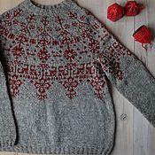Одежда handmade. Livemaster - original item Women`s knitted lopapeisa sweater Merezhka. Handmade.