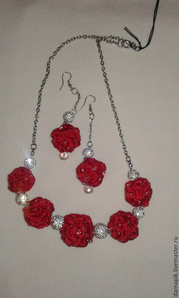 Textile set, Necklace and earrings 'Holiday' beads (imurane), Jewelry Sets, St. Petersburg,  Фото №1