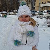 """Комплект шапка и шарф  """"Снеговик"""""""