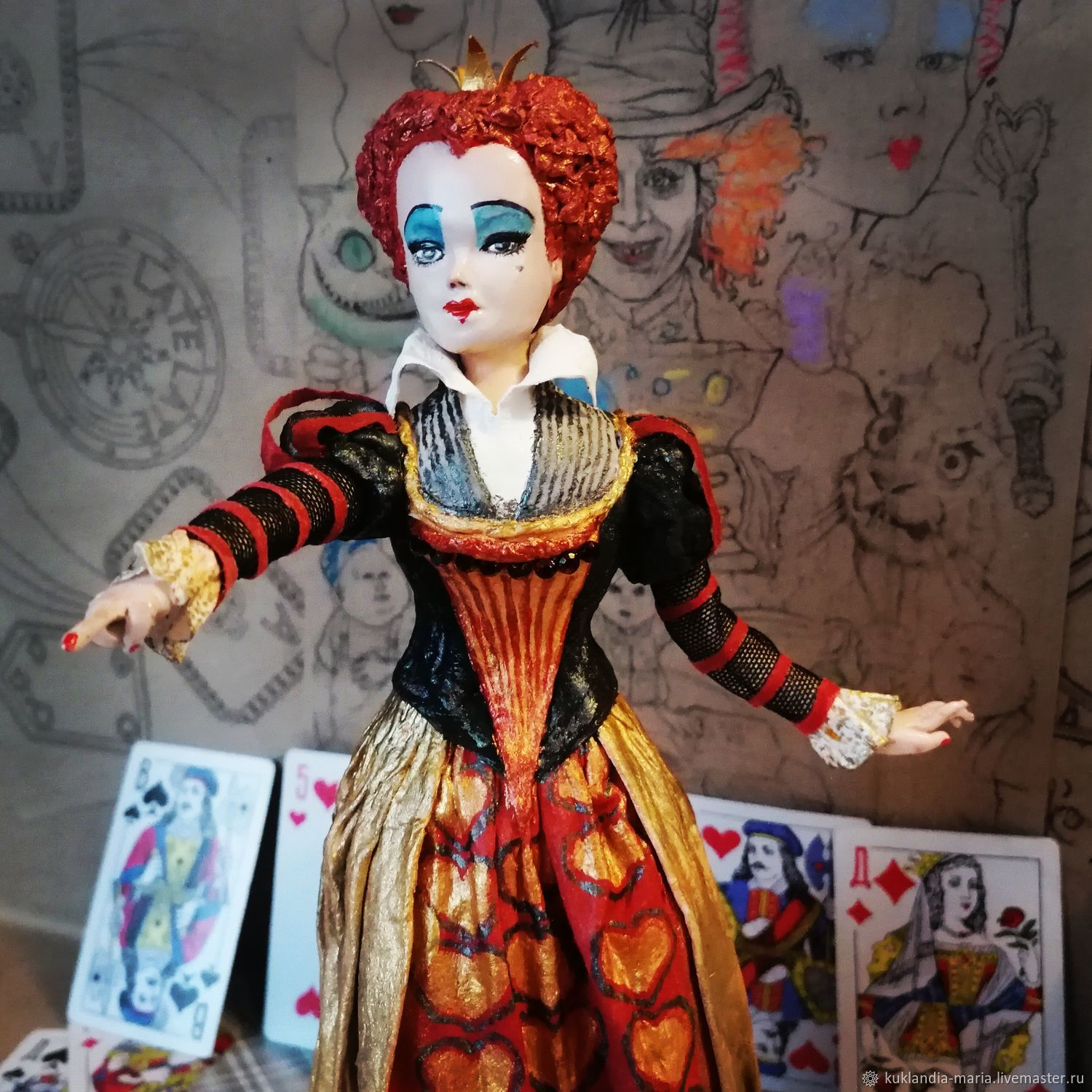 Red Queen cotton wool collectible interior toy, Portrait Doll, St. Petersburg,  Фото №1