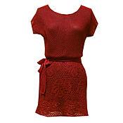 Одежда ручной работы. Ярмарка Мастеров - ручная работа Красная туника  ажурная. Handmade.