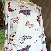 """Одежда ручной работы. Ярмарка Мастеров - ручная работа Блуза """"Бабочки """"из натурального вискозного трикотажа. Handmade."""