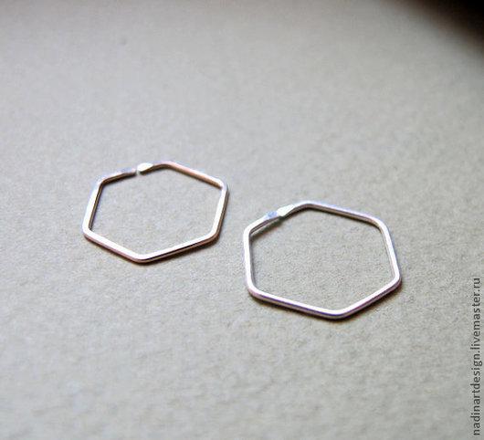 Серьги в форме шестиугольника