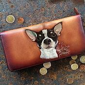 Сумки и аксессуары handmade. Livemaster - original item Custom painted pet portrait on zip around long women wallet. Personali. Handmade.