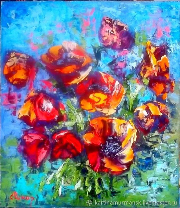 "Картина масло цветы ""Абстракция с маками"", Pictures, Murmansk,  Фото №1"