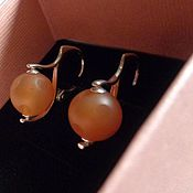 Украшения handmade. Livemaster - original item Earrings made of 925 silver and carnelian (ball with a pattern). Handmade.